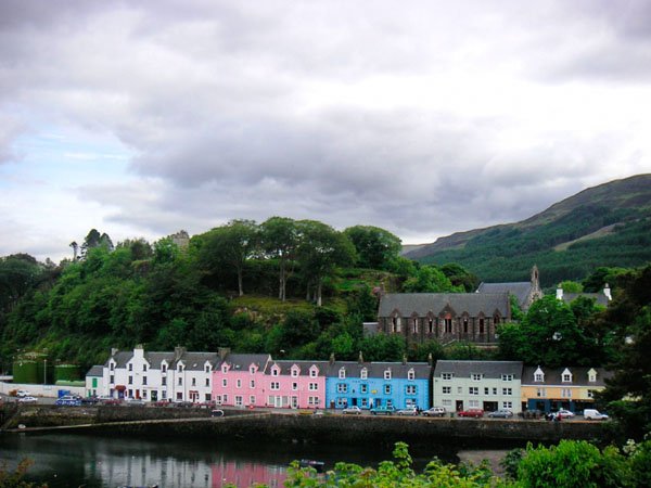 Then distinctive townshipe of Portree with its colourful houses.
